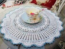 Vintage Hand Crochet Doily/Centerpiece/Topper~White&Blue~Fine Cotton Thread~