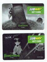 Subway Gift Card LOT of 2 Tim Burton's Frankenweenie Movie/ Sparky Dog -No Value