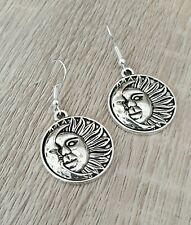 Silver Sun Moon Earrings Astronomy Celestial Pagan Dangly Drop Gift Present