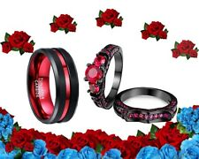 His and Her BLACK Tungsten & CZ red black Matching Wedding Engagement Ring Set
