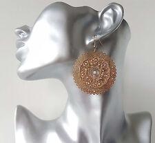 Gorgeous 5cm gold tone & diamante filigree patterned hoop - disc drop earrings