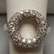Modernist Sterling & Diamante Rhinestone Pave Encrusted Concave O Ring - Size 8