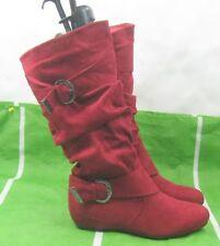 """New ladies BURGUNDY /RED 1.5""""HIDDEN  Wedge heel Sexy  knee Boots Size   8.5"""