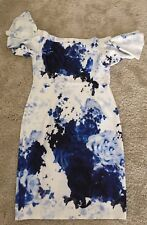 Off Shoulder Dress Size 18 White And Blue Floral SALE