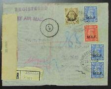 1944 England MEF Asmara Eritrea Censor Cover Jerusalem Palestine Barclays Bank