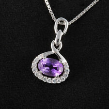 0.7ct Natural Oval Amethyst & CZ Pendant Necklace 925 Silver special occasion