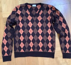 PRINGLE of Scotland L / 50 Argyle Pullover extrafine Merino Wool neuwertig braun