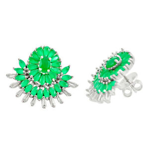 13.89cts Green Chalcedony White Topaz 925 Silver Stud Earrings Jewelry C19503