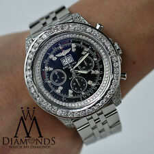 Breitling For Bentley 6.75 Automatic A4436412 14.50ct Diamond Watch Black Dial