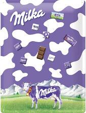 Milka Lila Kuh Magnettafel 30x40cm +  9 Magnete, Blechschild Schokolade Neu