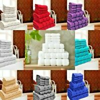 100% Egyptian Cotton Towel 8 Piece Bale Set Face Hand Bath Towel Stripe Design