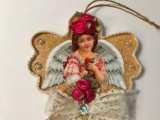Angel Christmas ornament, handcrafted on wood, Vintage image, item #1wood