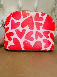 Kate Spade spencer ever fallen Heart's small domed Leather crossbody Zip Bag Red