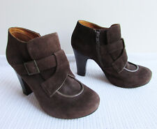 Chie Mihara Size EUR38.5 AU 8 Brown Suede Platform Heeled Ankle Booties Boots
