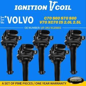 5x Ignition Coils for Volvo C70 S60 S70 S80 V70 XC70 XC90 2.0L 2.3L 2.4L 2.5L