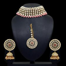 Indian Bollywood Peach Color Kundan Necklace Set With Earrings and Maang Tikka