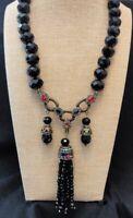 """Heidi Daus """"Imperial Intrigue"""" Black Y Drop Tassel Necklace - Gorgeous Elegance!"""
