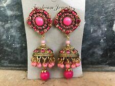 Women Earrings Fashion Pink Beads Jhumka Style Earring Bollywood Ethnic Earrings