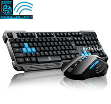 US 2.4GHz Delog V60 Wireless Ergonomic Gaming Keyboard + 6 Buttons PC Mouse Set