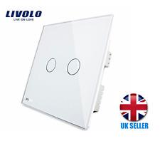 Livolo UK Standard Wall Switch Touch Light Switch 2 Gang 1Way White