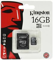 KINGSTON MICRO SD 16GB SDHC MEMORY CARD MOBILE PHONE CLASS 4 WITH SD ADAPTER