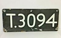 Enamel Sign  Antique Vintage Sign House Number Train Number Plate