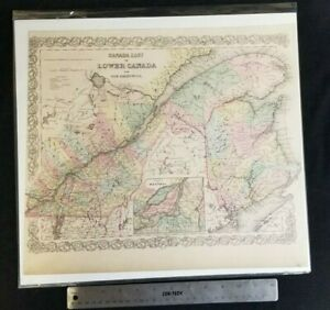 Vintage Map of Canada East and New Brunswick 1855 by Colton