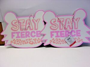 LOT OF 2 Stay Fierce Cat Shaped Hanging Wall Plaques 610