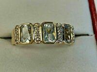 Estate 2.30Ct Emerald Bezel Aquamarine Wedding Band Ring 14k Yellow Gold Finish