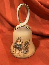 Vintage Roman RR Bisque Porcelain Christmas Bell Mary Joseph Jesus NOS