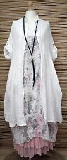 LAGENLOOK LINEN OVERSIZE AMAZING 2 PCS FLORAL DRESS+LONG JACKET***WHITE***XL-XXL