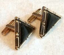 Vintage HICKOK Chunky Black Triangle Cufflinks USA