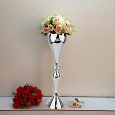 "SILVER METAL 25"" tall Trumpet Floor Vase Home Wedding Centerpieces Decorations"