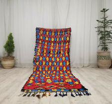 Vintage Moroccan Tribal Handmade Rug 3'x8'3'' Geometric Berber Colorful Wool Rug