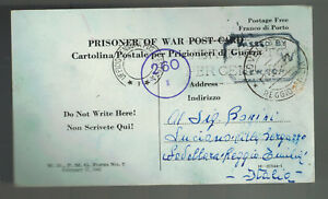 1943 Unknown USA  Italian prisoner War POW Camp Postcard Cover to Italy