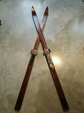 Rare Antique Vintage Wooden Downhill SKIS challet Furnishings Paris Ski brand