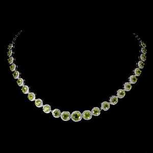 Necklace Green Peridot Genuine Natural Gems Sterling Silver 17 1/2 to 19 1/2 In