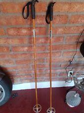 "Vintage NORDIC  Bamboo Ski Poles 145 cm. 57"" Long. Black handles. Cabin decor"