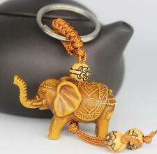 Lucky Elephant Carving Wooden Pendant Keychain Key Ring Chain Evil Defends Gift