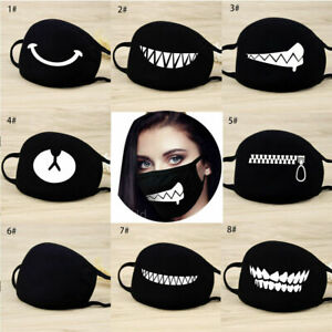 Cartoon Face Mask Cover Funny Unisex Teeth Mouth Black Cotton Printed Washable#