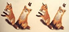 Ceramic Water Slide Labels Fox Pups and Butterfly, L121