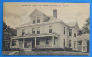 Belfast ME Whitehouse Lodge 36 High Street Route 1 old vtg postcard White House