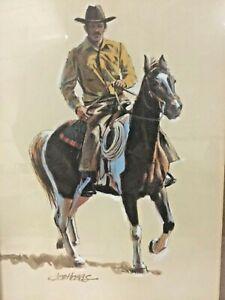 JOE HOBBS (1938-2004) VINTAGE AMERICAN ORIGINAL COWBOY WESTERN PASTEL PAINTING