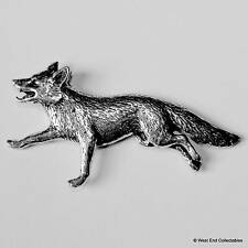 Running Fox Pewter Pin Brooch - British Hand Crafted - Dog Fox Wolf Hunting