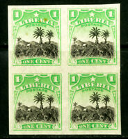 Liberia Stamps # 115 Imp Block of 4 XF OG NH Rare Imperforate Block Of 4