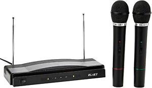 RLAKY Twin Wireless Cordless Microphone Set Receiver For DJ MIC KARAOKE PRO GIFT