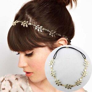 WHH32 White Chapel Bridal Bridesmaid Hairdo Gold Silver Leaf Elastic Headband