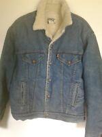 Vintage 70s Levi's Sherpa Lined Denim Trucker Retro Jacket Orange Tag USA SIZE L