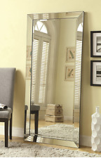 Full Length Floor Mirror Wall Leaning Rectangle Silver Beveled Frame Tall New
