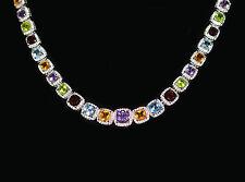 Collier, Peridot Amethyst Blautopas Citrin Granat, 925 Sterling Silber, Neu